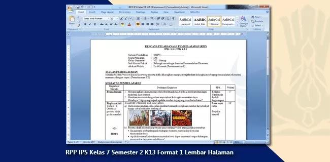 RPP IPS Kelas 7 Semester 2 K13 Format 1 Lembar Halaman