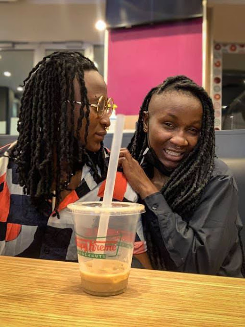 Nigerian Lesbian, Amara reveals she and her partner, Olayinka are married as they tattooed their names on their fingers (Photos)