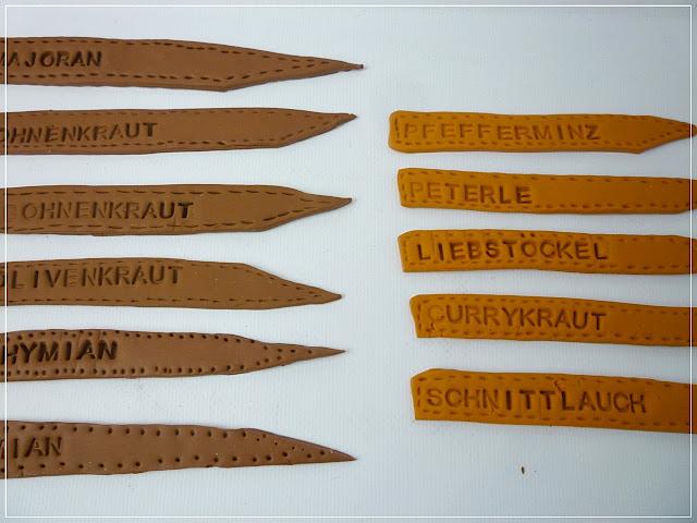 Verschiedene Kräuterstecker aus Fimo