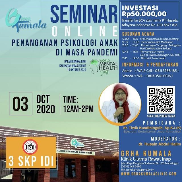 Seminar Online Penanganan Psikologi Anak di Masa Pandemi