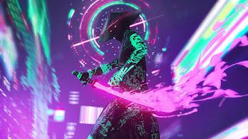 Cyberpunk, Warrior, Neon, Sci-Fi, Sword, 4K, #6.2541
