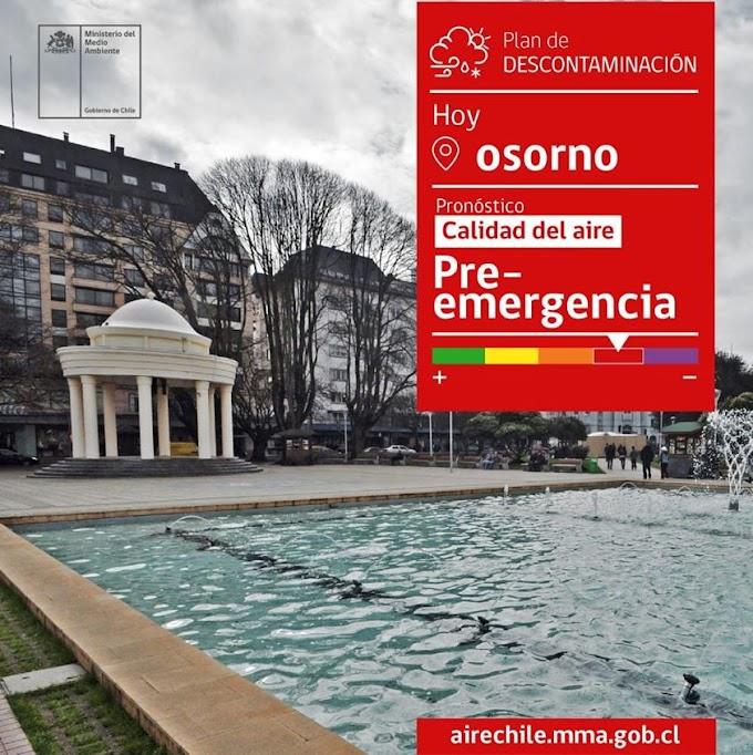 Seremi del Medio Ambiente decreta Preemergencia Ambiental para este martes en Osorno