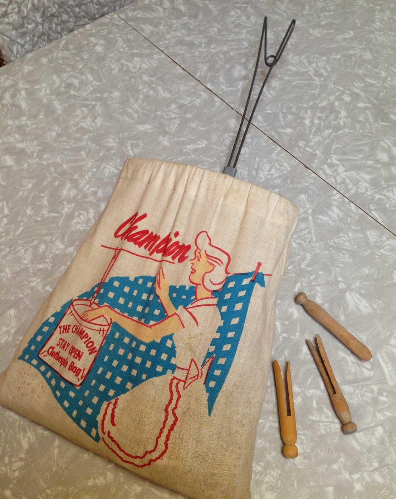 Clothes Pins Too Some Were The Spring Kind Older With No Springs Bag And Hanging Wire Are Both In Very Good Shape