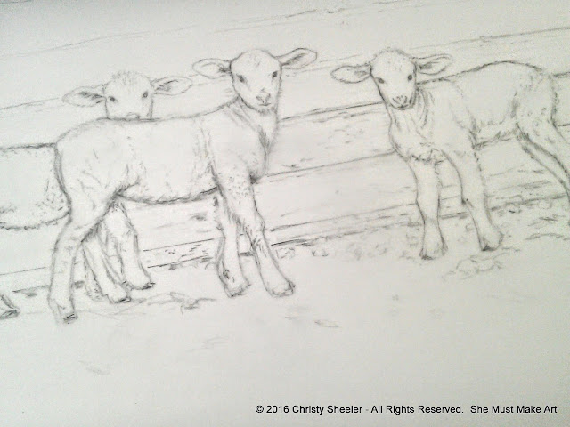 The pencil sketch of lambs on tracing paper.