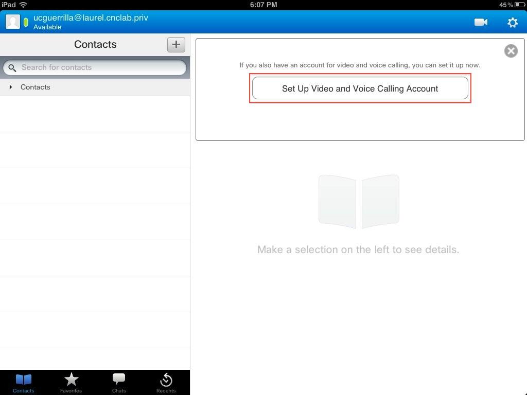 Unified Communications Guerrilla: Cisco Jabber for iPad Pt 1