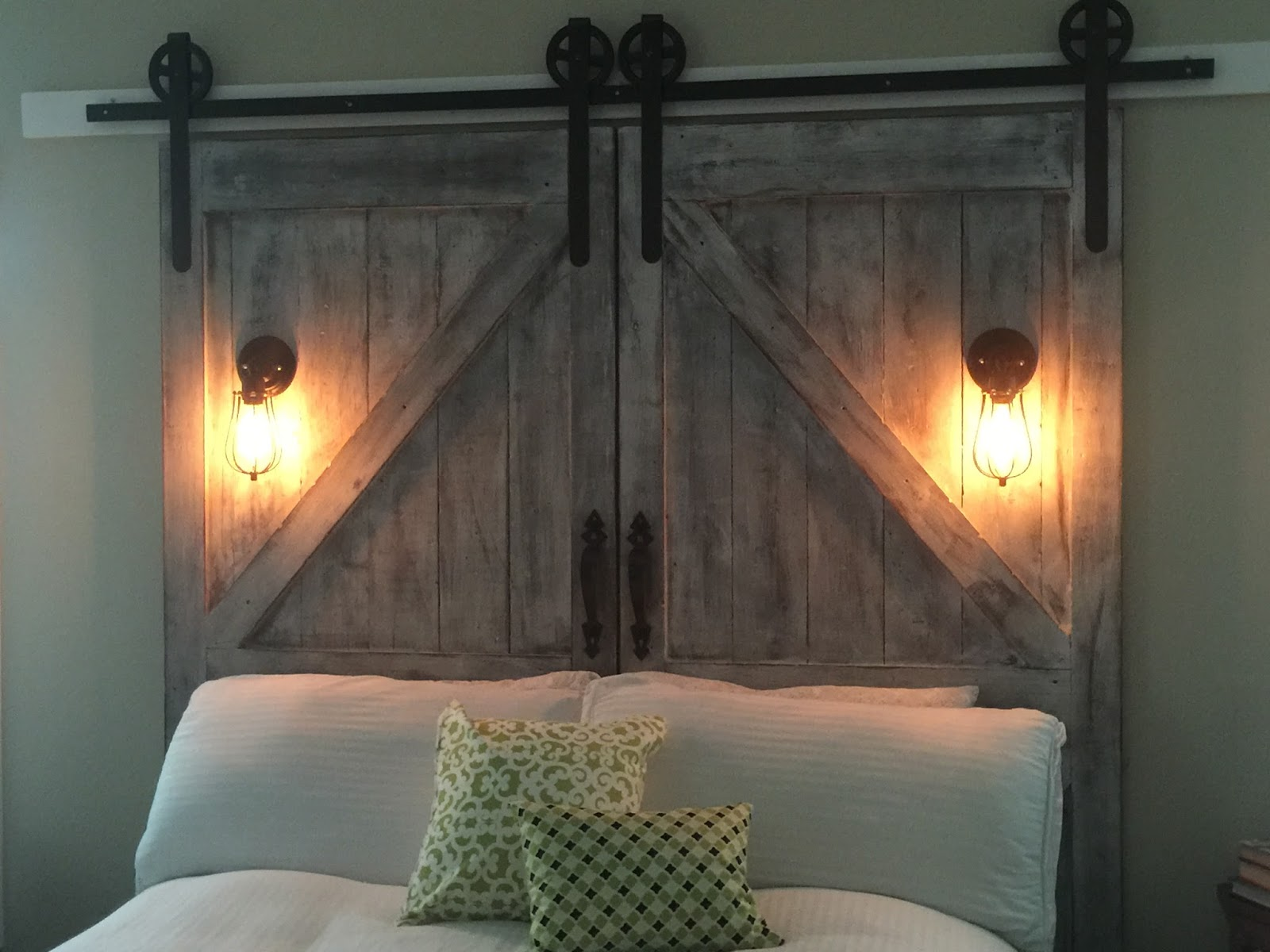 Cheaper And Better Diy Barn Door Headboard And Faux Barn Door Track Hardware