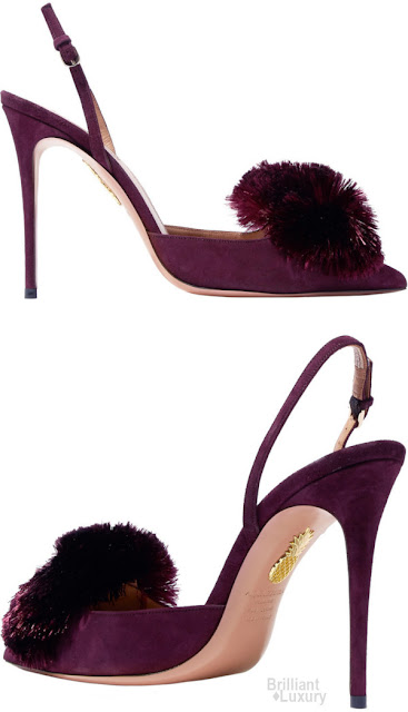 Brilliant Luxury♦Aquazzura Powder Puff pompom-embellished suede slingback pumps
