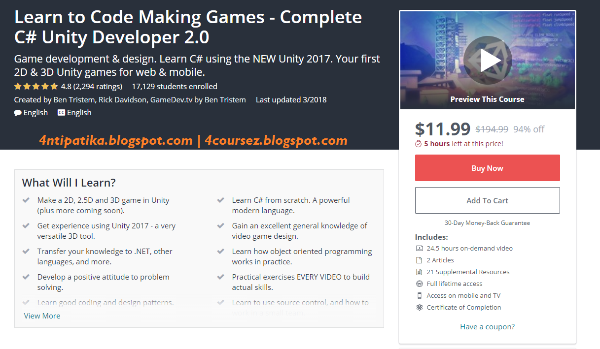 Learn to Code Making Games - Complete C# Unity Developer 2 0