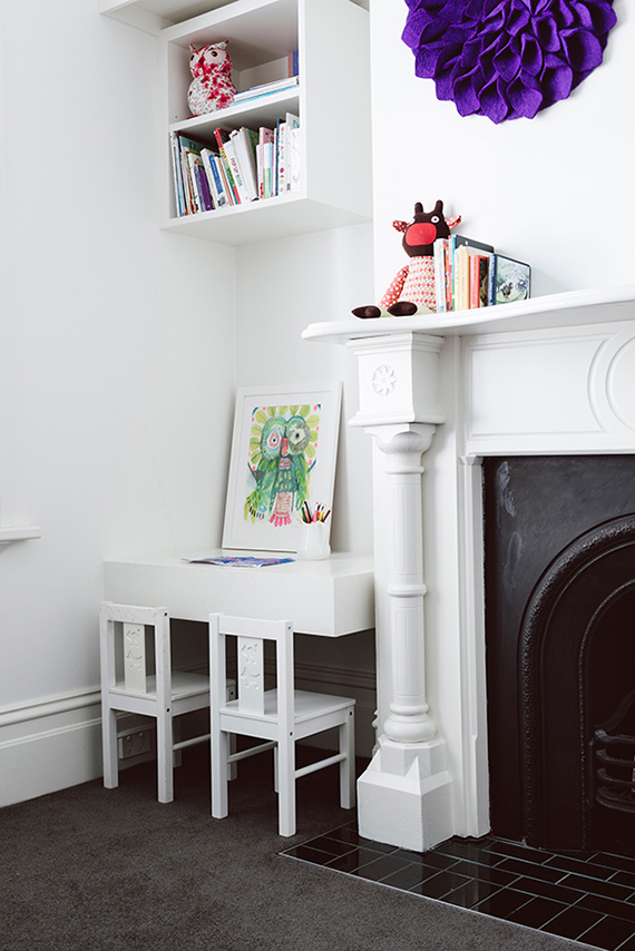 Kid's room with fireplace via Techne