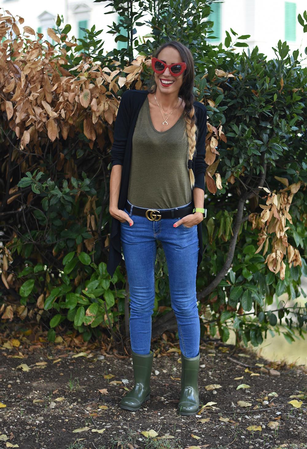 outfit stivali da pioggia