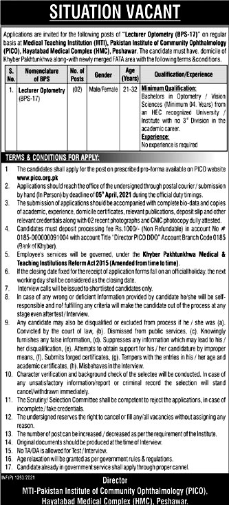 Latest Jobs  Pakistan Institute of Community Ophthalmology  PICO  2021