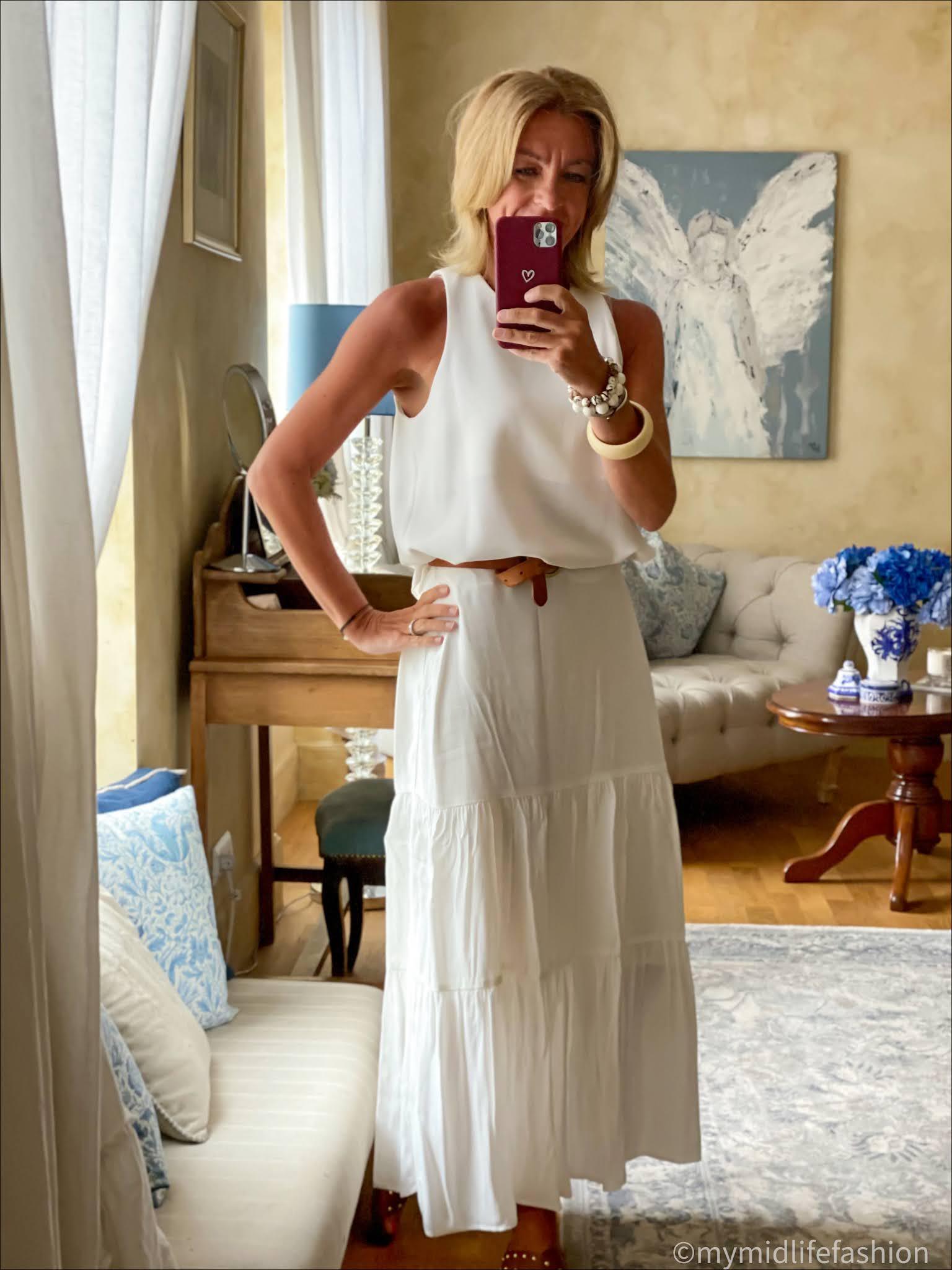 my midlife fashion, phase eight aspenne skirt, Zara tank top, Massimo Dutti leather belt, basalt studded sliders