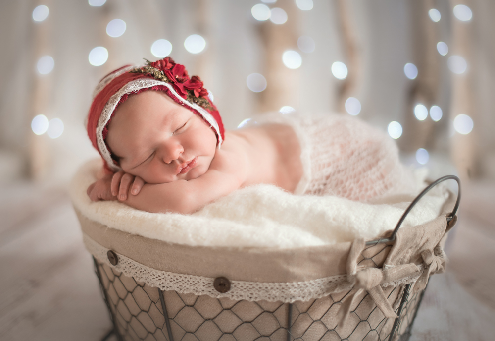 Christmas newborn baby girl
