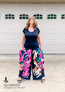 Vogue 8588 Side Drape Pants with Big Pockets  and  in Floral Knit worn by Sharon Sews