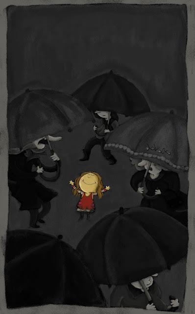 """""""ilustración-niña bajo la lluvia-ana sáez del arco-girl in the rain"""""""