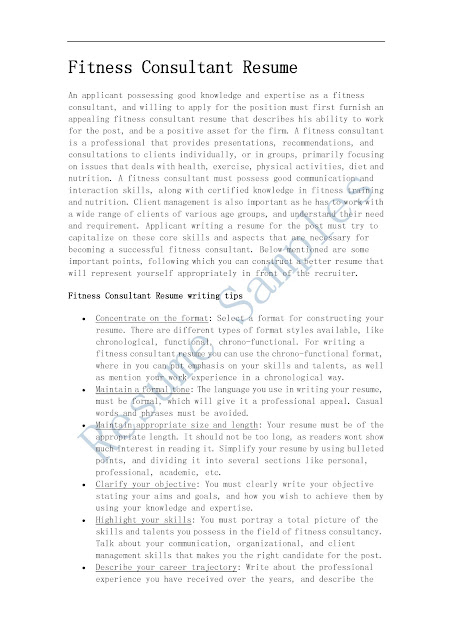 Fitness Consultant Sample Resume Top 8 Fitness Consultant Resume