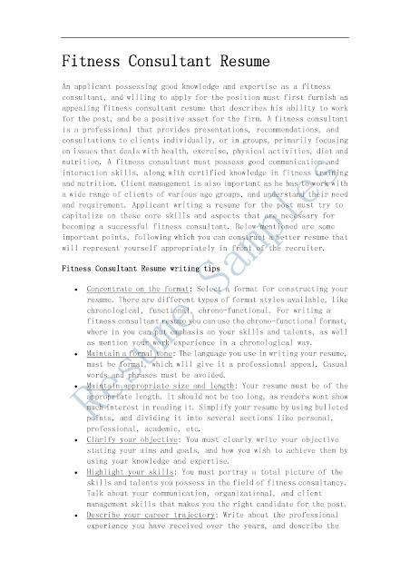 fitness consultant resume - Onwebioinnovate - Fitness Consultant Resume
