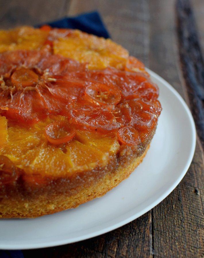 Torta volteada de naranja y otros cítricos, receta fácil