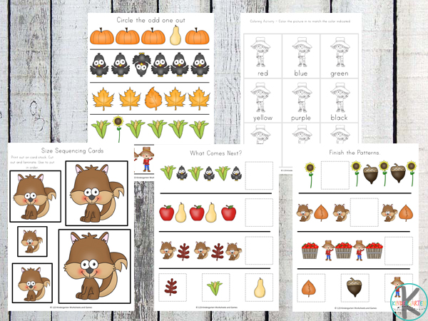 fall size sequencing, which one comes next, color words, and more fall worksheets for kids