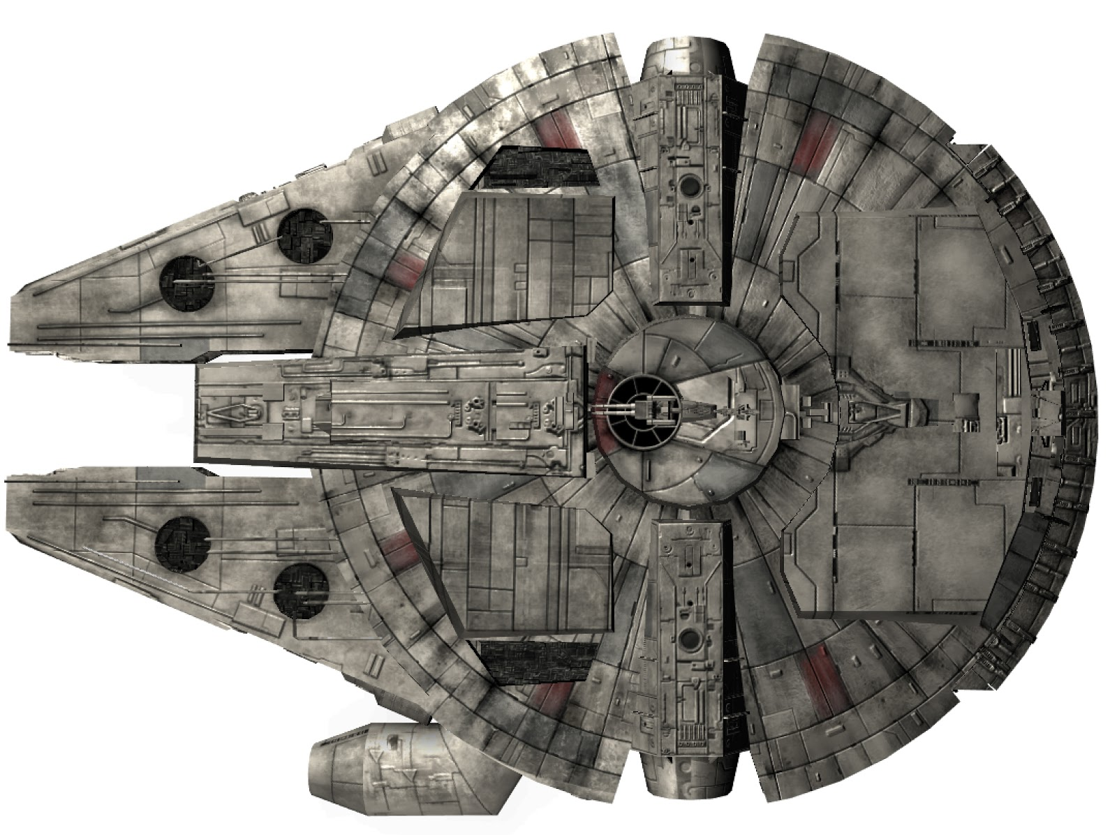 Game Ready Star Wars Millennium Falcon 3D model - real time view - bottom