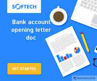 Reference letter for bank account opening doc formate for class 11,12th