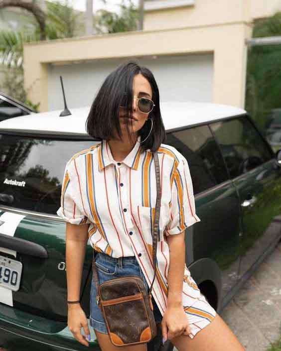 Inspirações de looks de verão com camisa de manga