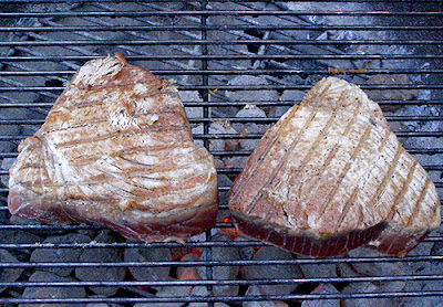 Two Tuna Steaks on the Grill