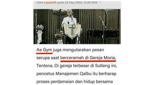 Gus Miftah Dicap Kafir, Kini Beredar Foto Aa Gym Ceramah di Gereja Terbesar di Sulteng