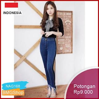 NAG168 Celana Panjang Wanita Jeans List Medium Murah Bmgshop