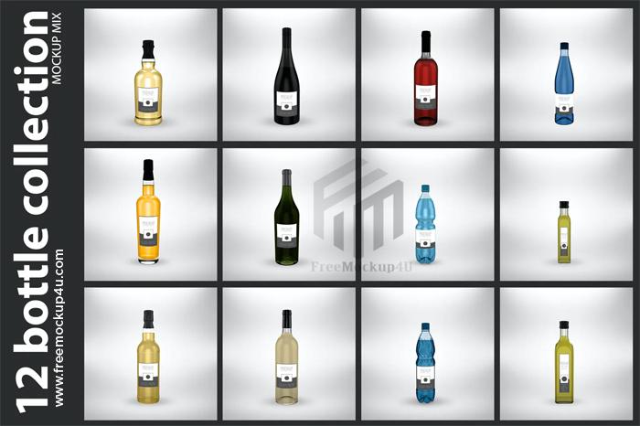 12 Bottle Collection Mockup PSD Bundle