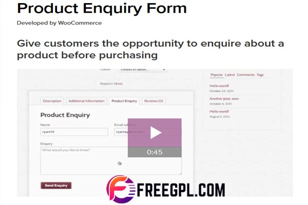 WooCommerce Product Enquiry Form WordPress Plugin Nulled Download Free