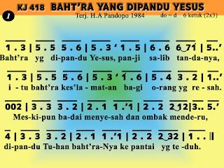 Lirik dan Not Kidung Jemaat 418 Baht'ra Yang Dipandu Yesus