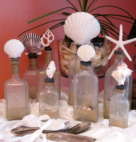 Glass Bottles Topped with Shells