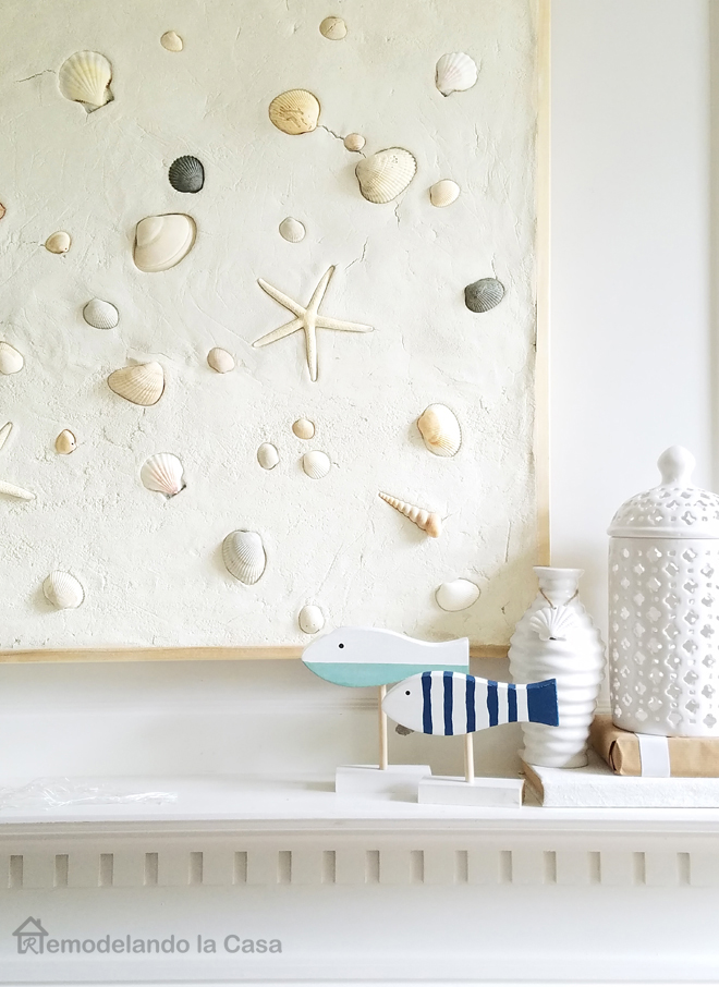 Luxury sUMMER MANTEL WITH SEA SHELLS WALL ART AND FISH SCULPTURES
