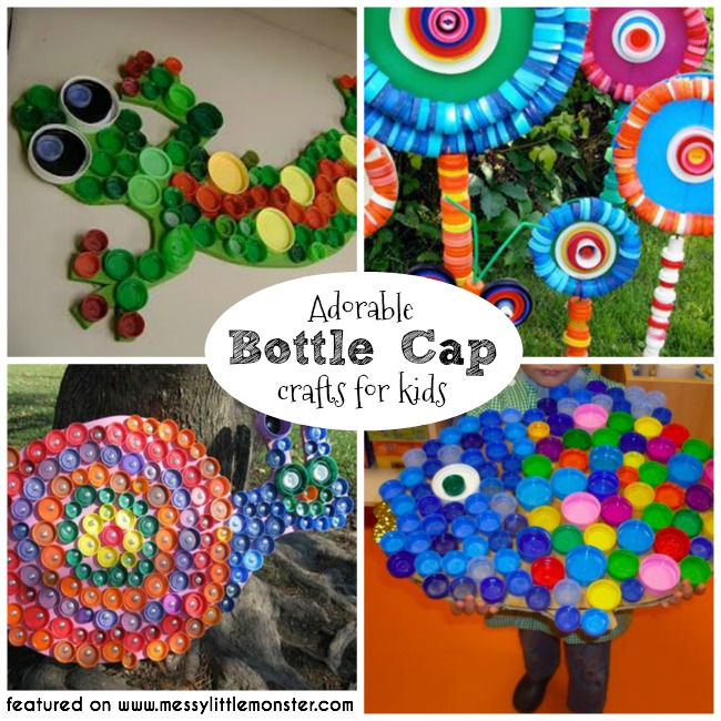 Giant bottle cap crafts for kids.  A collection of fun bottle top ideas for toddlers, preschoolers and older kids to make from bottle tops.