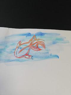 アクリル絵の具で輪郭を彩色した切り絵(薄い背景)
