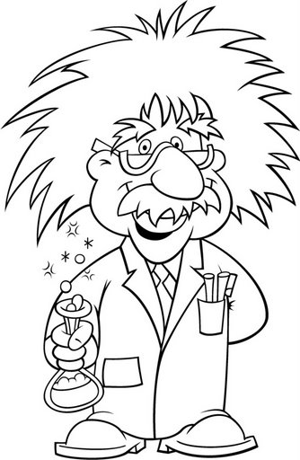 Albert Einstein coloring page with glasses.
