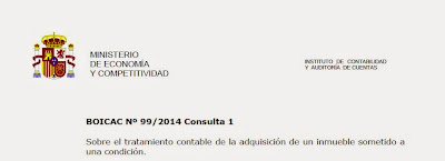 BOICAC 99 Consulta 1: Adquisición inmueble sometido a condición