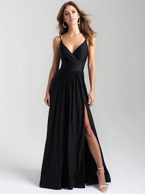 V-neck Madsion James Prom Dresses Black color