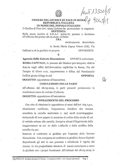 Il Giudice di Pace di Roma annulla una cartella di Pagamento di Agenzia delle Entrate