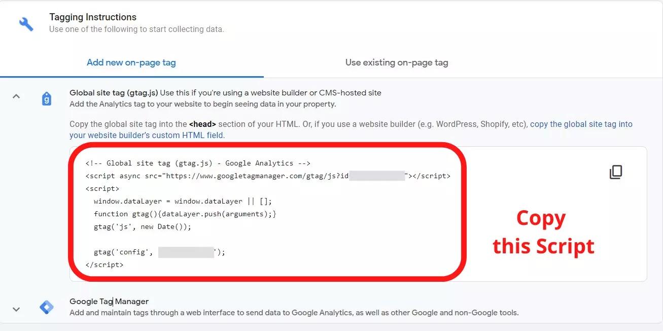 Global Site Tag HTML Code