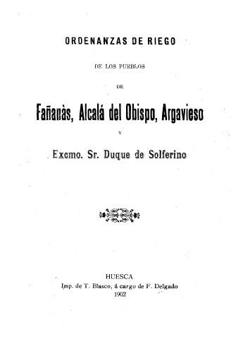 Fañanás: Las Ordenanzas de Riego de 1898