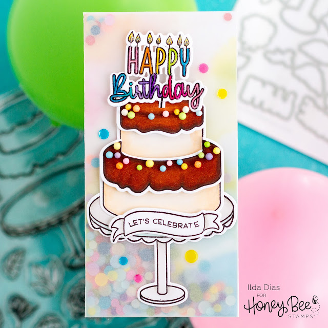 Birthday, Mini Slimline, Frameless Vellum Shaker, Card,Honey Bee Stamps, ,Let's Celebrate, Fancy Frosting, Cake Banner Sentiments,Card Making, Stamping, handmade card, ilovedoingallthingscrafty, Stamps, how to,