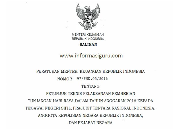 PMK Nomor 97/PMK. 05/2016 Tentang Juknis Pemberian YHR