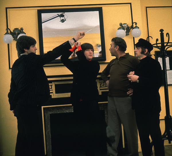 1965. The Beatles filming Help! in London