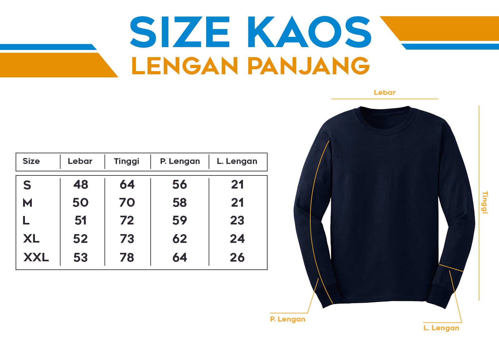 Size Kaos Lengan Panjang