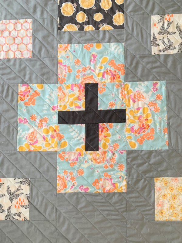 A plus-sign block in a pale blue floral print