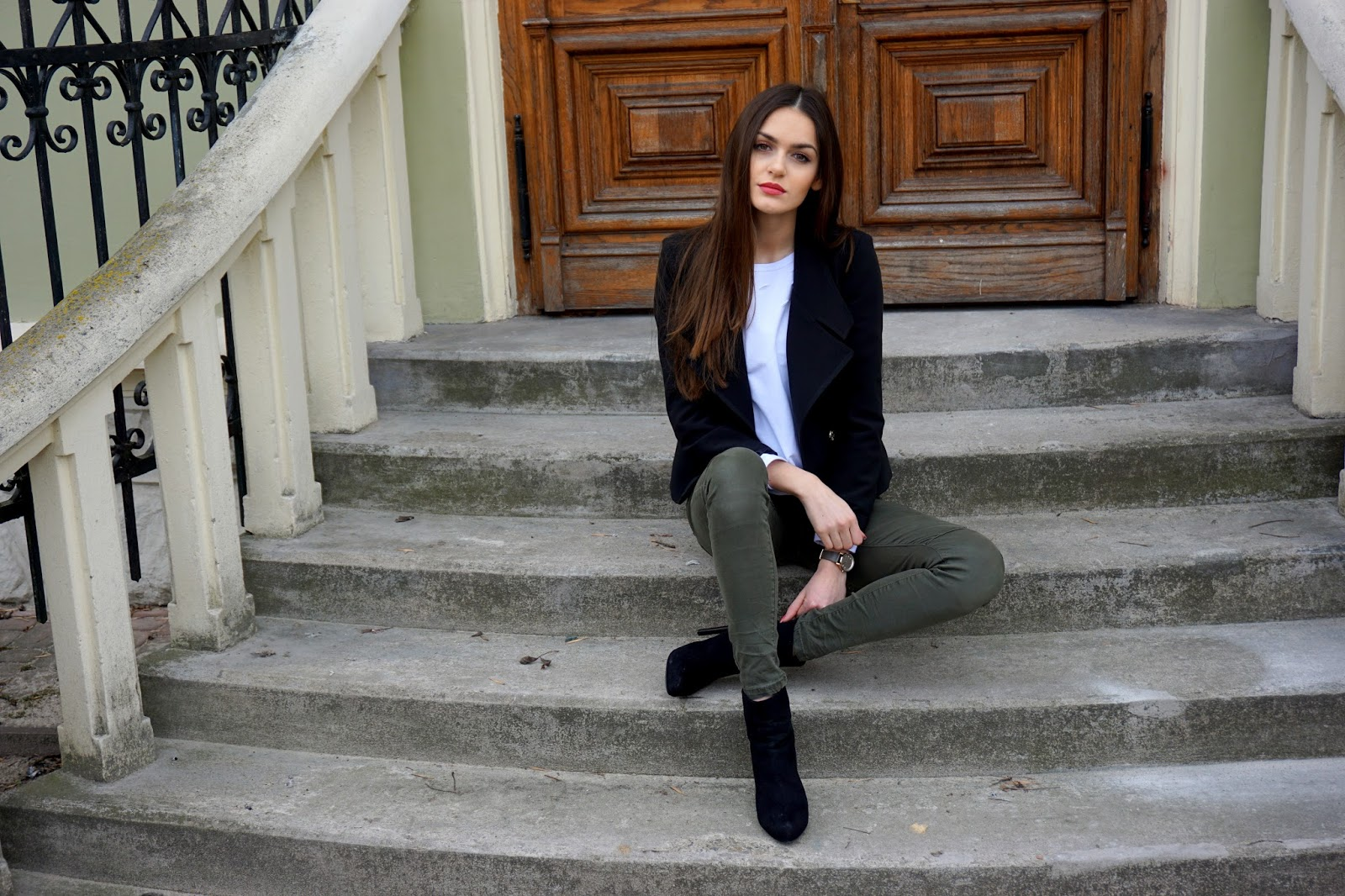 khaki and black outfit