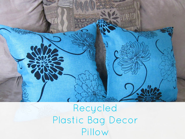 recycled plastic bag pillow decor
