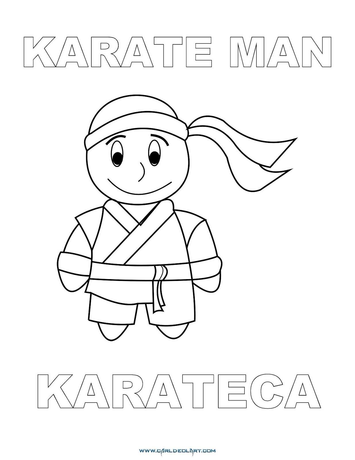 Dibujos Inglés Español Con K Karateca Karate Man